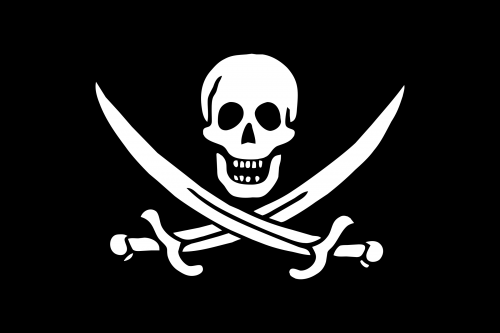 an image of a pirate skull and crossed swords on a black background